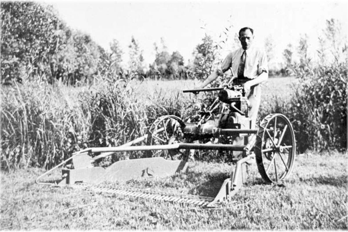 Engineer Luigi Castoldi with the original BCS Sickle Bar Mower - Model 243