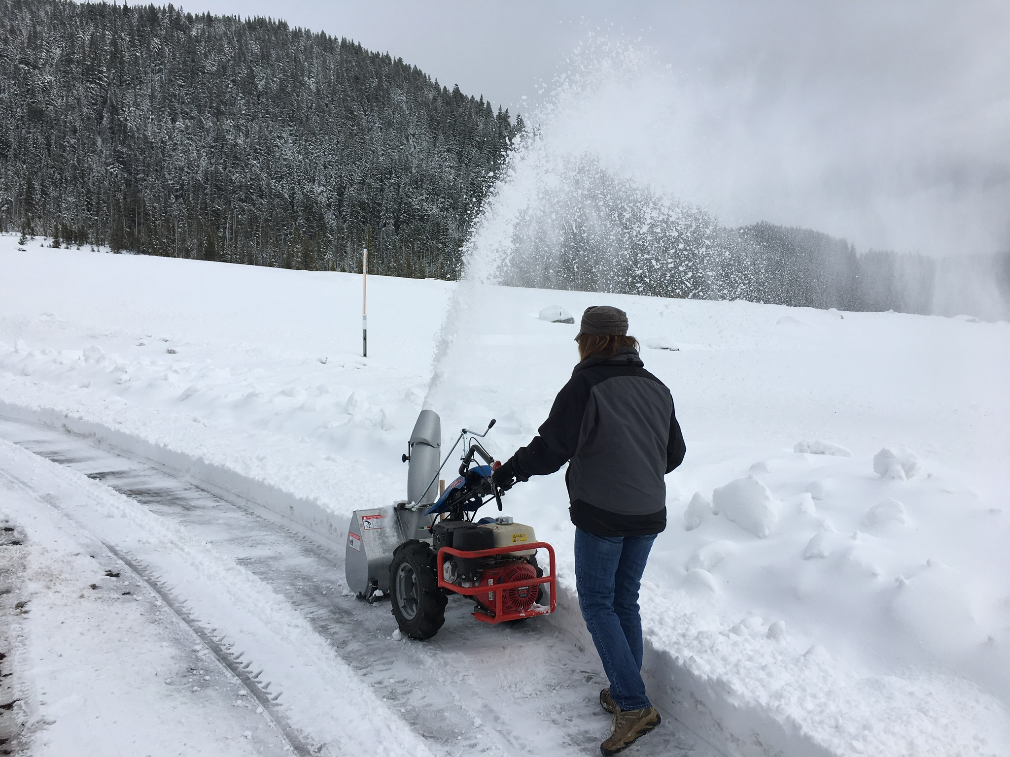Clearing heavy snow on Mt. Hood with a BCS Snow Thrower.
