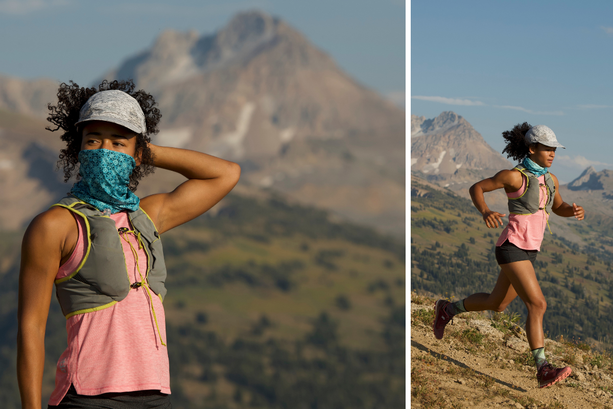 woman trail running in mountains in BUFF gear