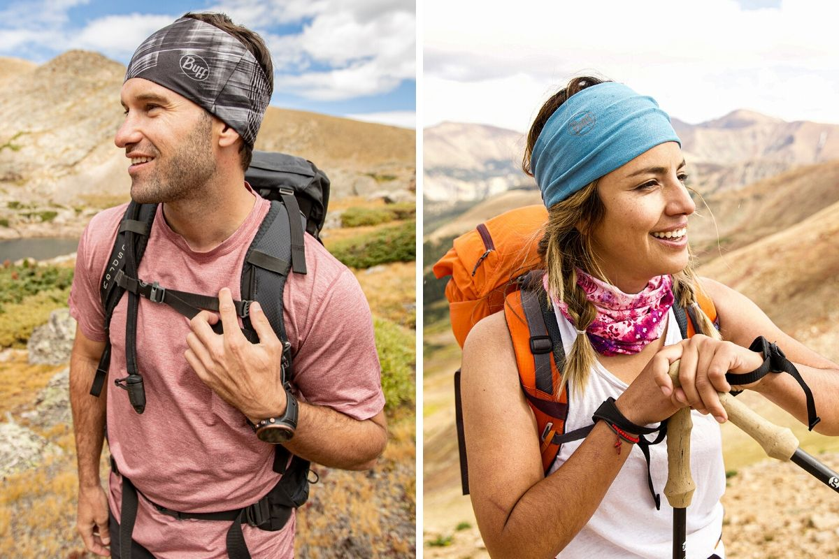 male and female hiking in headbands
