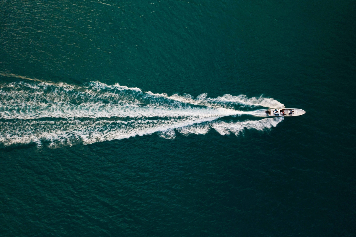 drone shot boat open water