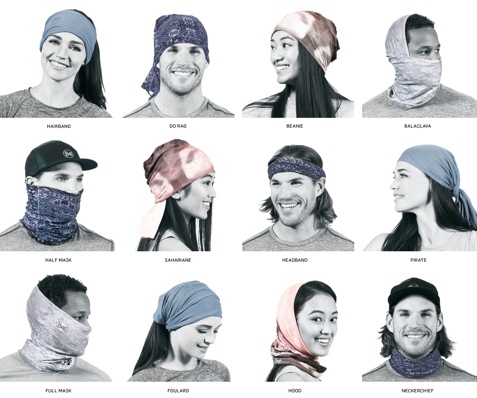 How to Wear a Buff - From Buff's Website