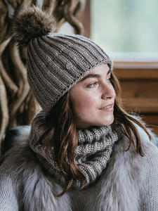 Knit Neckwarmer Margo Brown Taupe