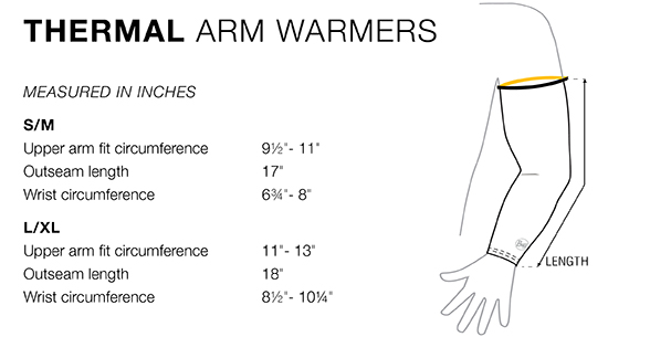arm warmer fit chart