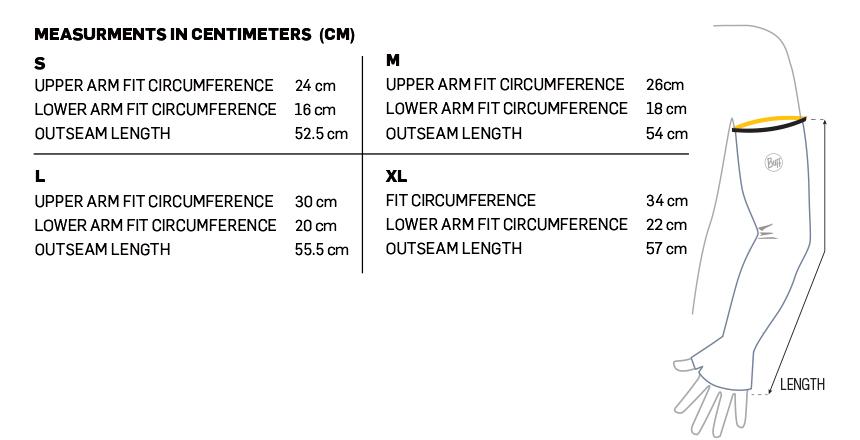 UV+ Coastal Arm Sleeve Size Chart