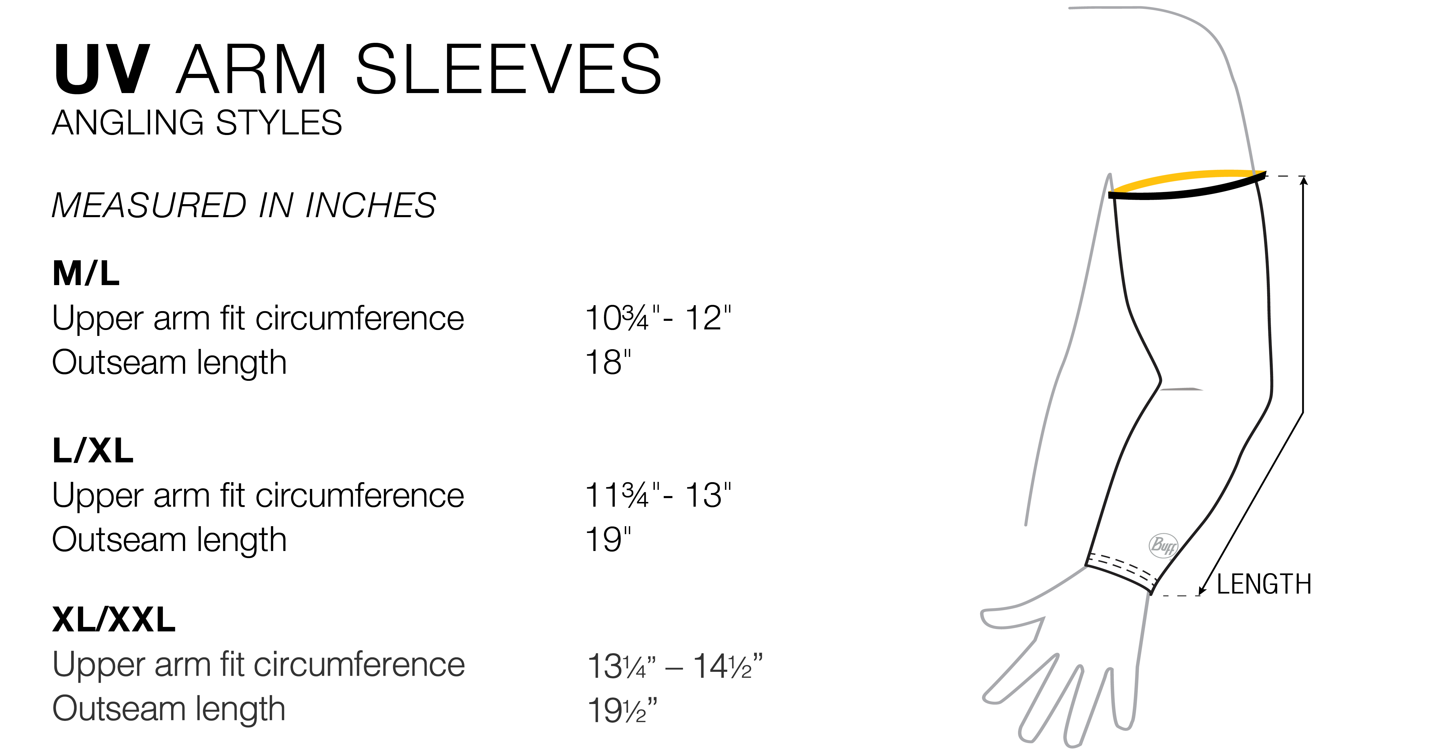 arm sleeve fit chart