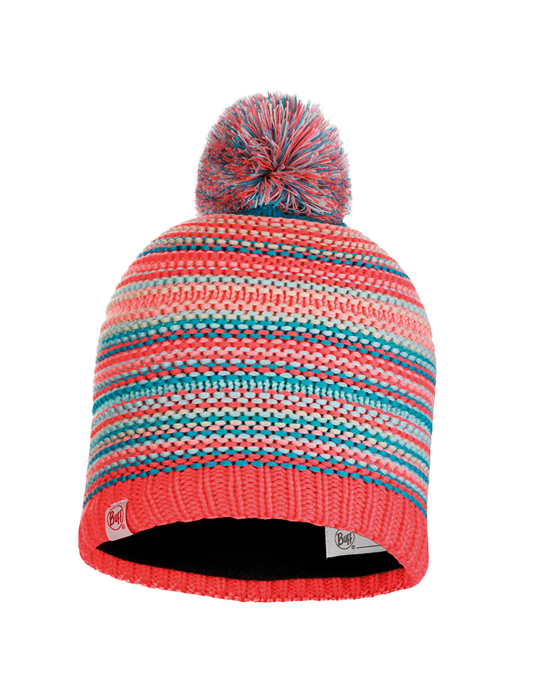 Junior Knitted & Fleece Hat - Amity Coral Pink