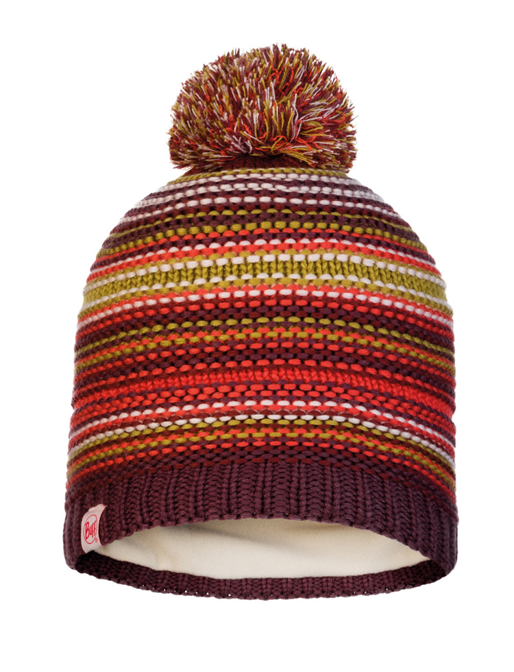 Junior Knitted & Fleece Hat - Amity Maroon