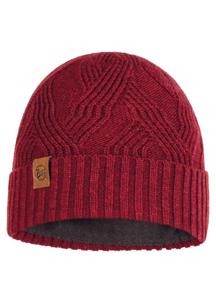 Knitted & Fleece Hat - Artur Maroon
