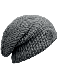 Knitted & Polar Slouchy Hat - Drip Graphite