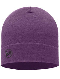 Midweight Merino Wool Hat Purple Melange