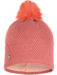 Knitted & Fleece Hat - Disa Peach