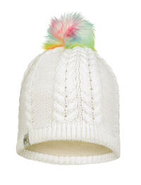 Child Knitted & Fleece Hat - Nina White