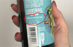 Location of packaged on date/batch code