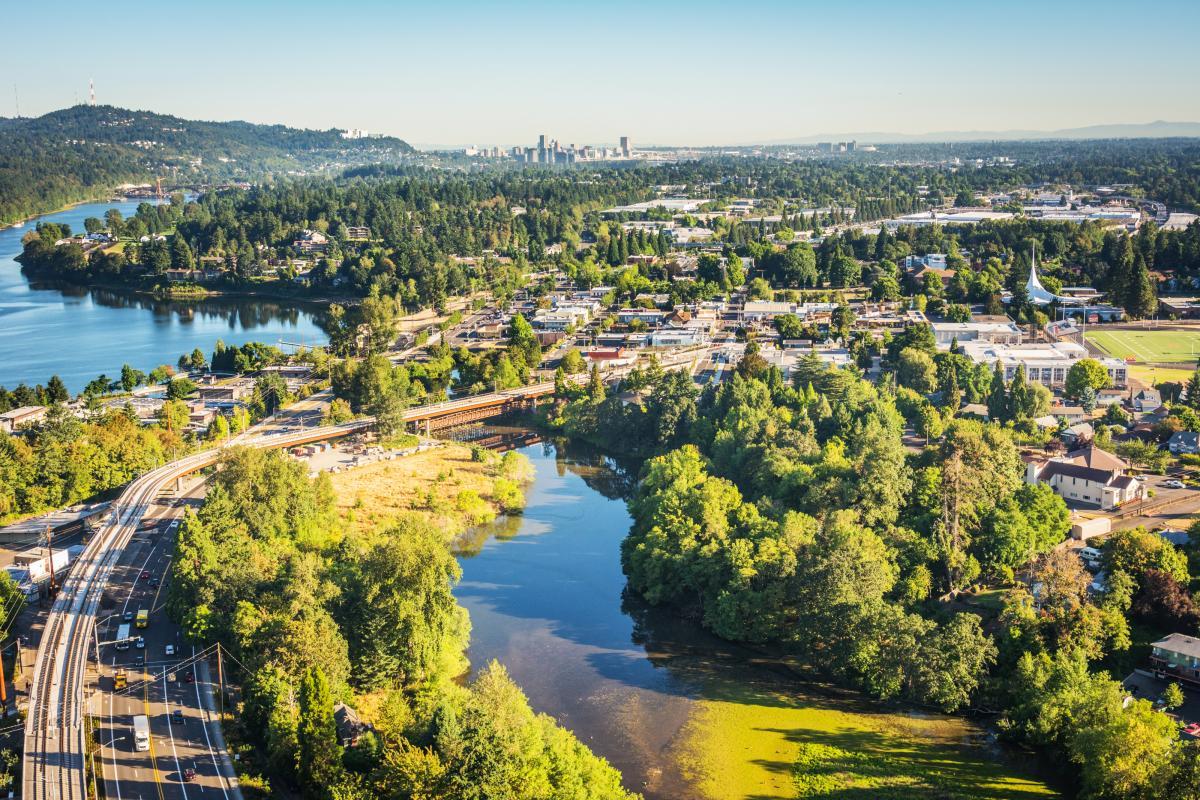 Aerial view of Milwaukie, Oregon