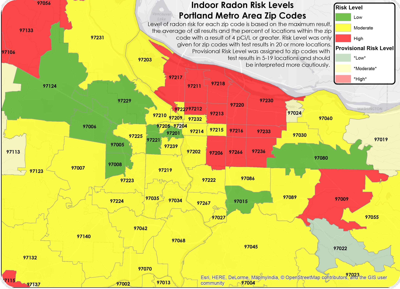 Radon Map Oregon PORTLAND RADON MAP | Environmental Works   Portland, OR