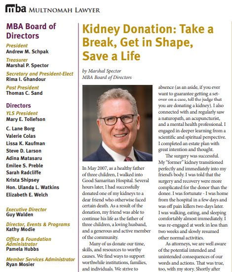 Kidney Donation: Take a Break, Get in Shape, Save a Life