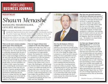 Shawn Menashe featured in Portland Business Journal article  - Special Report on Divorce Law